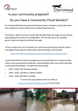 Please find attached a flyer encouraging individuals to become flood wardens